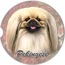 Absorbent Car Coaster - Pekingese