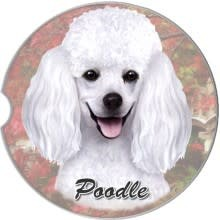 Absorbent Car Coaster - Poodle, White