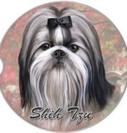 Absorbent Car Coaster - Shih Tzu, Black & White