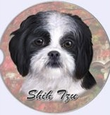 Absorbent Car Coaster - Shih Tzu, Black & White, Puppy Cut