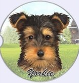 Absorbent Car Coaster - Yorkie, Puppy Cut