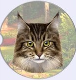 Absorbent Car Coaster - Maine Coon Cat