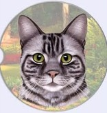 Absorbent Car Coaster - Silver Tabby Cat