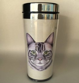 Pet Tumbler-Silver Tabby Cat