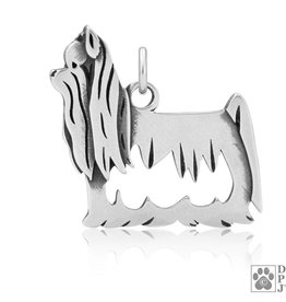 Sterling Silver Yorkie Show Cut Pendant