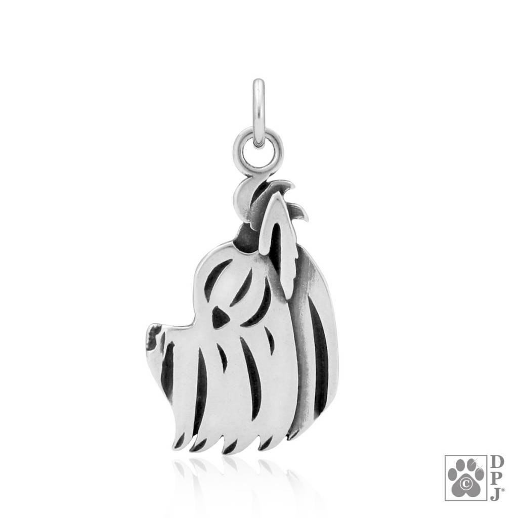 Sterling Silver Yorkie Puppy Cut Pendant (Head)