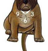 Wagging Tail Clock, Frenchie, Tan