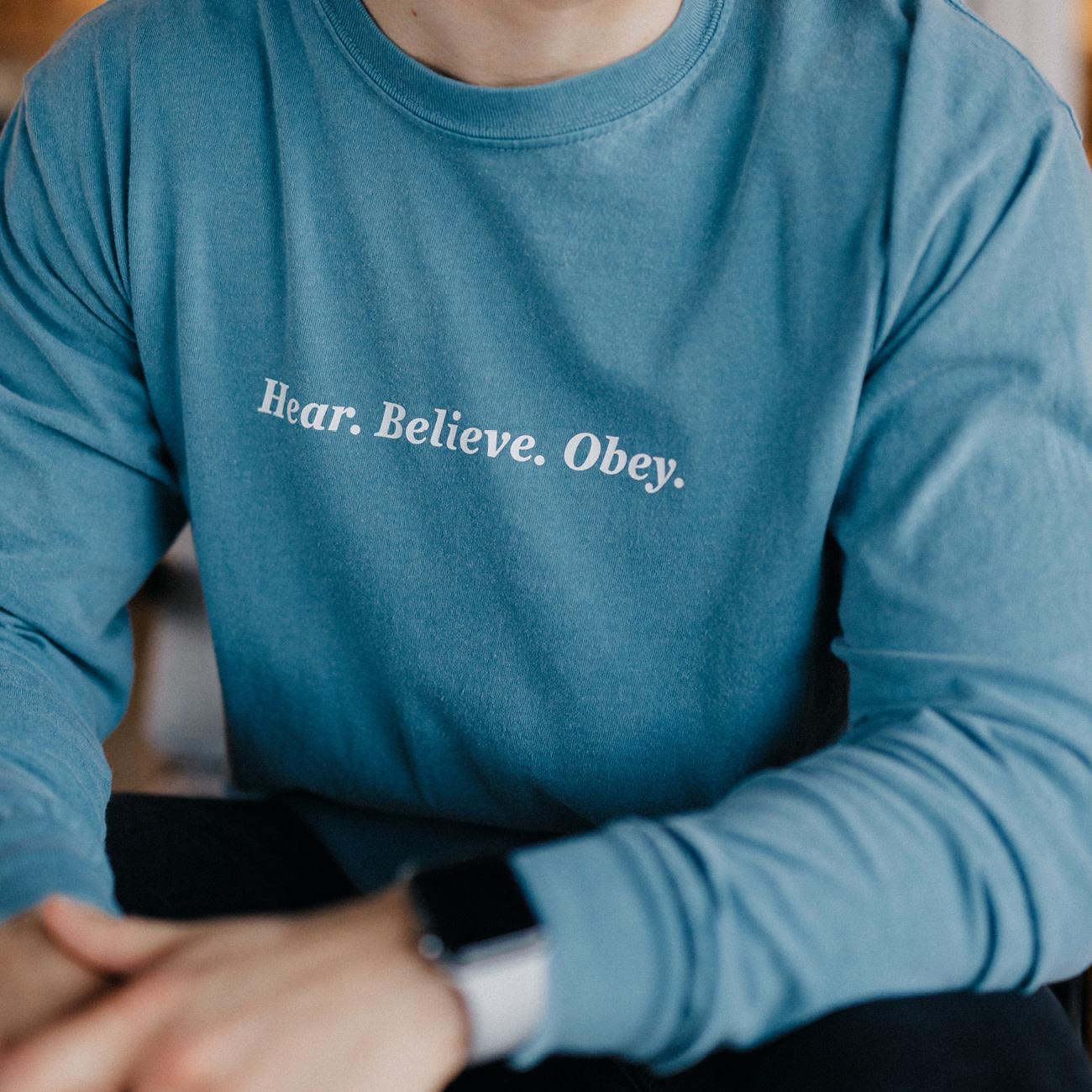 PRINTED THREADS Tee - Hear Believe Obey Blue
