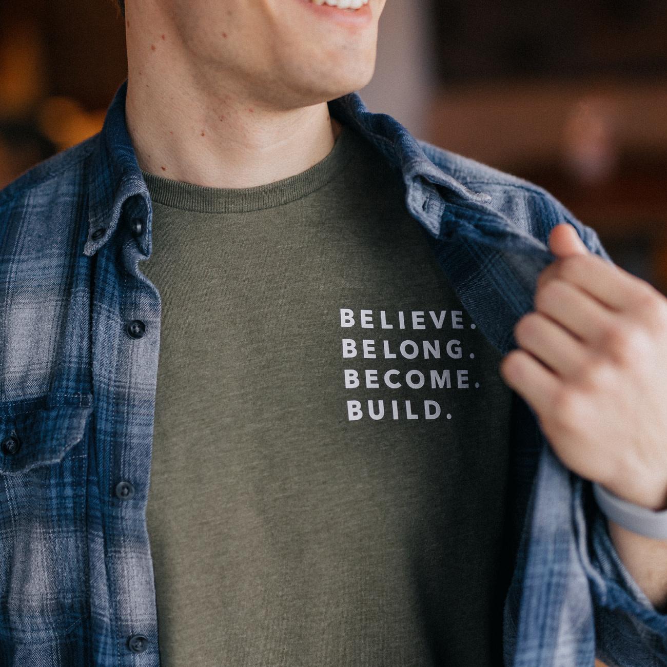 PRINTED THREADS Tee - Believe Belong Become Build Green