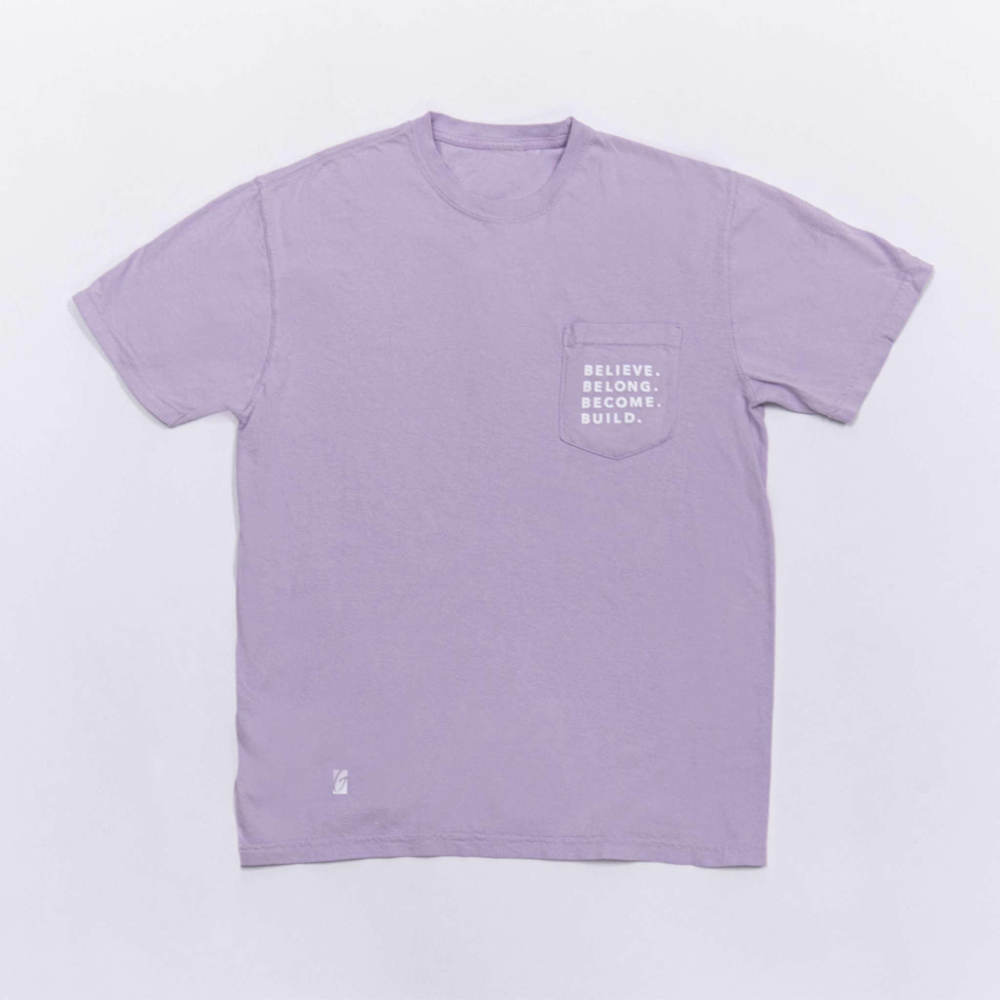 Tee - Believe Belong Become Build Purple