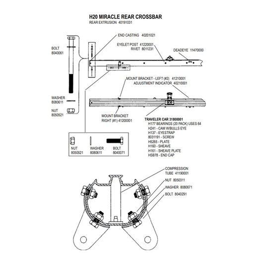 Hobie Crossbar H20 Extrusion Aft