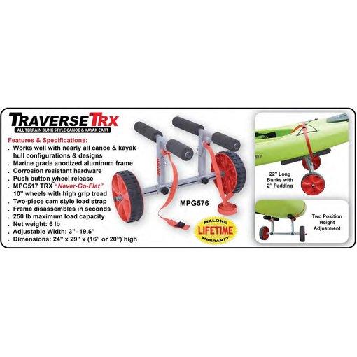 Malone TraverseTRX All Terrain Bunk Style Canoe/Kayak Cart (With No-Flat Tires)