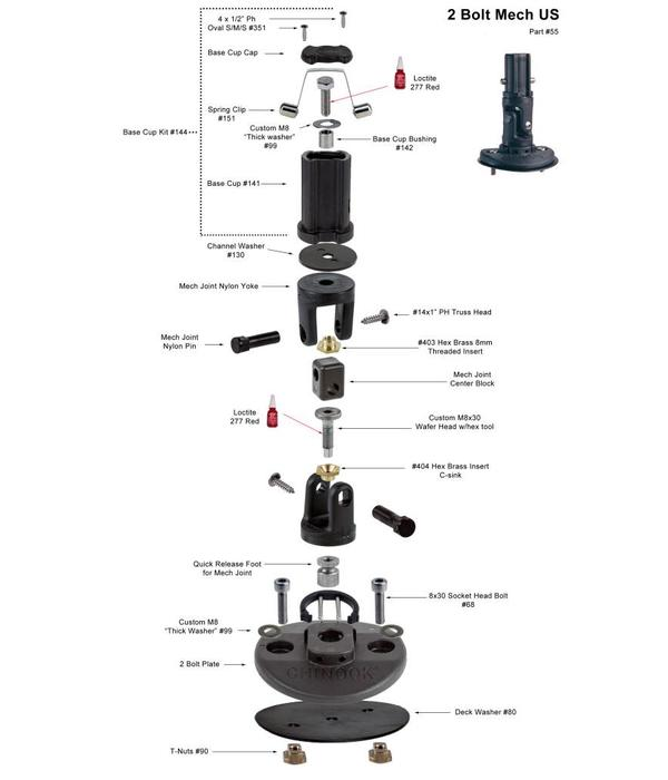 Chinook Mast Base 2-Bolt Mechanical