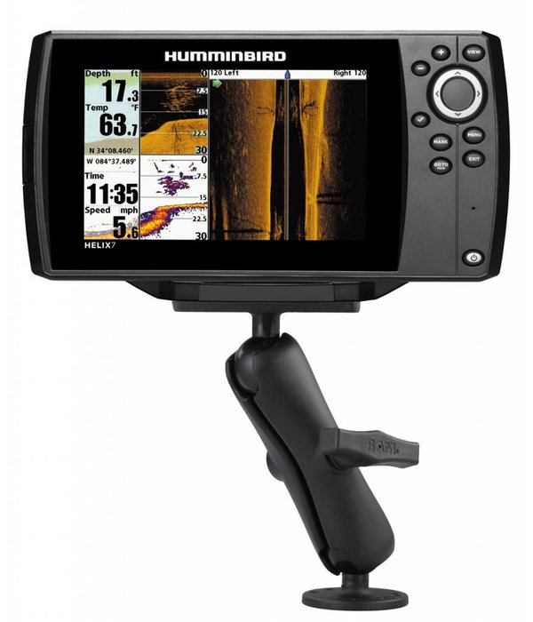 """RAM Mounts 1.5"""" Ball Mount With 2.5"""" Round Base & 2"""" x 4"""" Plate For The Humminbird Helix 7 Only"""