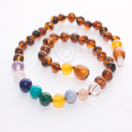 "Healing Amber Healing Amber 20"" Necklace Caramel Amber & Gemstone Medley"