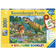 Ravensburger Ravensburger World of Dinosaurs Puzzle 100pcs XXL + Coloring Book