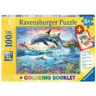 Ravensburger Ravensburger Vibrant Dolphins Puzzle 100pcs XXL + Coloring Book