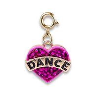 Charm It Charm It! Gold Glitter Dance Heart Charm