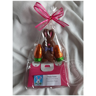 The Chocolate House Pink and Purple Purses with Bow Tie Bunny