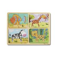 Melissa & Doug Melissa & Doug Natural Play Animal Patterns Wooden Jigsaw Puzzles 4 x 4pcs