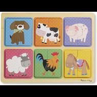 Melissa & Doug Melissa & Doug Natural Play Farm Friends Wooden Jigsaw Puzzles 4 x 4pcs