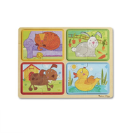 Melissa & Doug Melissa & Doug Natural Play Playful Pals Wooden Jigsaw Puzzles 4 x 4pcs