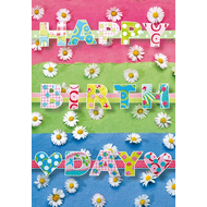 Happy Birthday - Hearts & Flowers Card