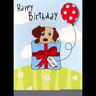 Happy Birthday - Puppy in Gift Box Card