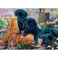 Cobble Hill Puzzles Cobble Hill Black Lab Puppies Tray Puzzle 35pcs