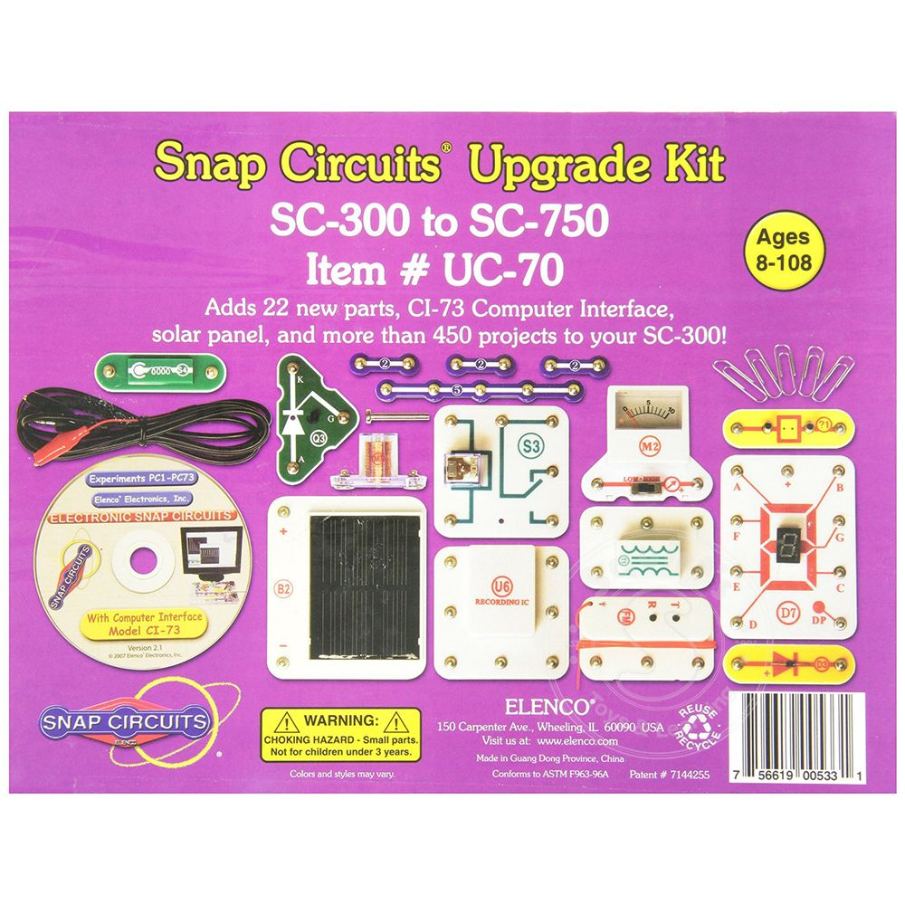 Elenco Snap Circuits Upgrade Kit Sc 300 To 750 Squirts Toys Kits