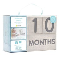 Age Milestone Blocks Set - Wooden, Gray