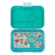 Yumbox YumBox Tapas 4 Compartment - Antibes Blue w/ Flamingo Tray