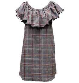 TLC MURPHY PLAID OFF SHOULDER DRESS