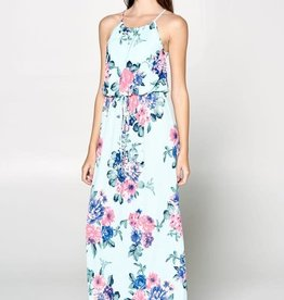 TLC FLORAL HALTER MAXI DRESS