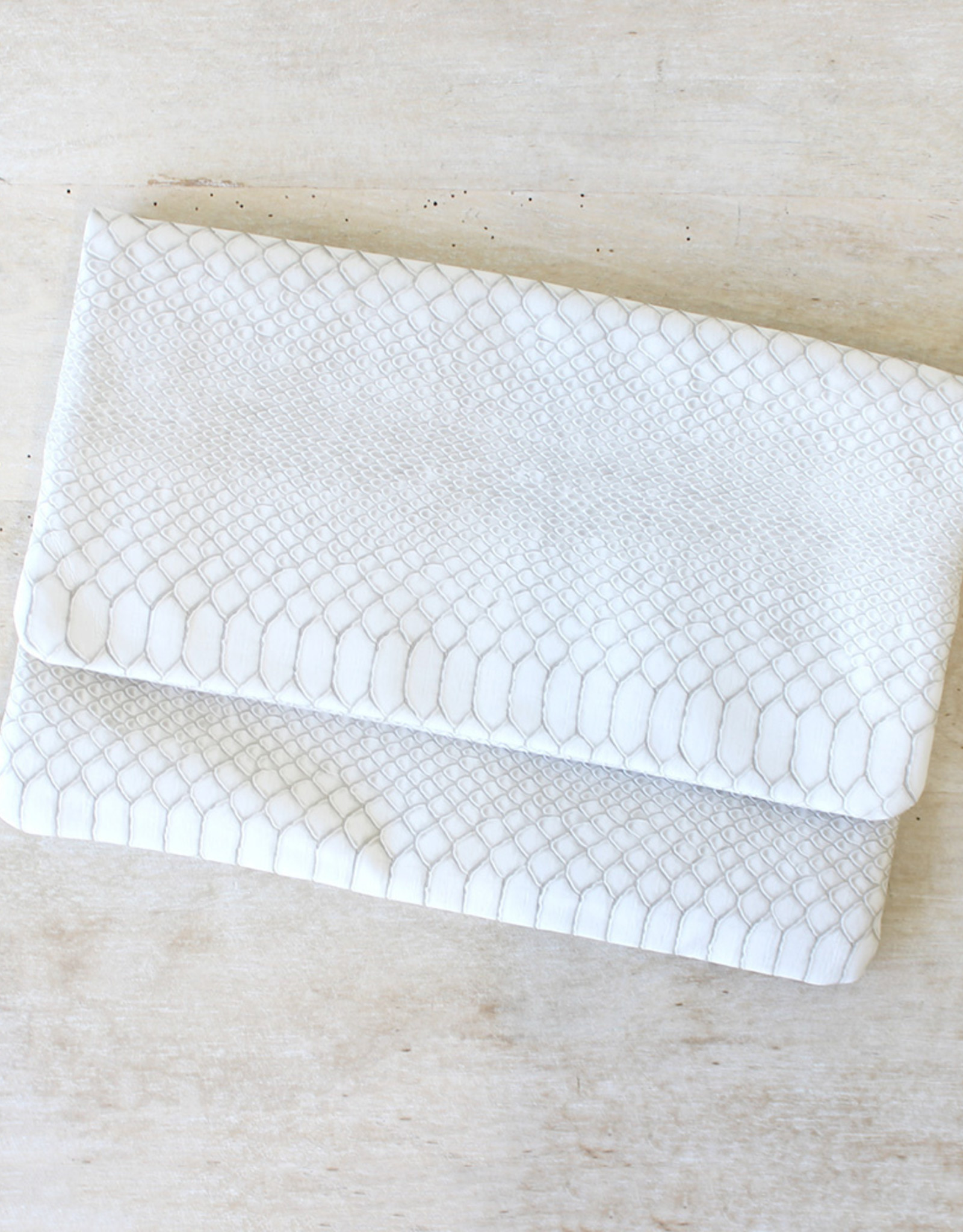 TLC Foldover Clutch in Stone