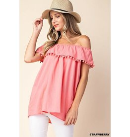 TLC STRAWBERRY POM POM TOP