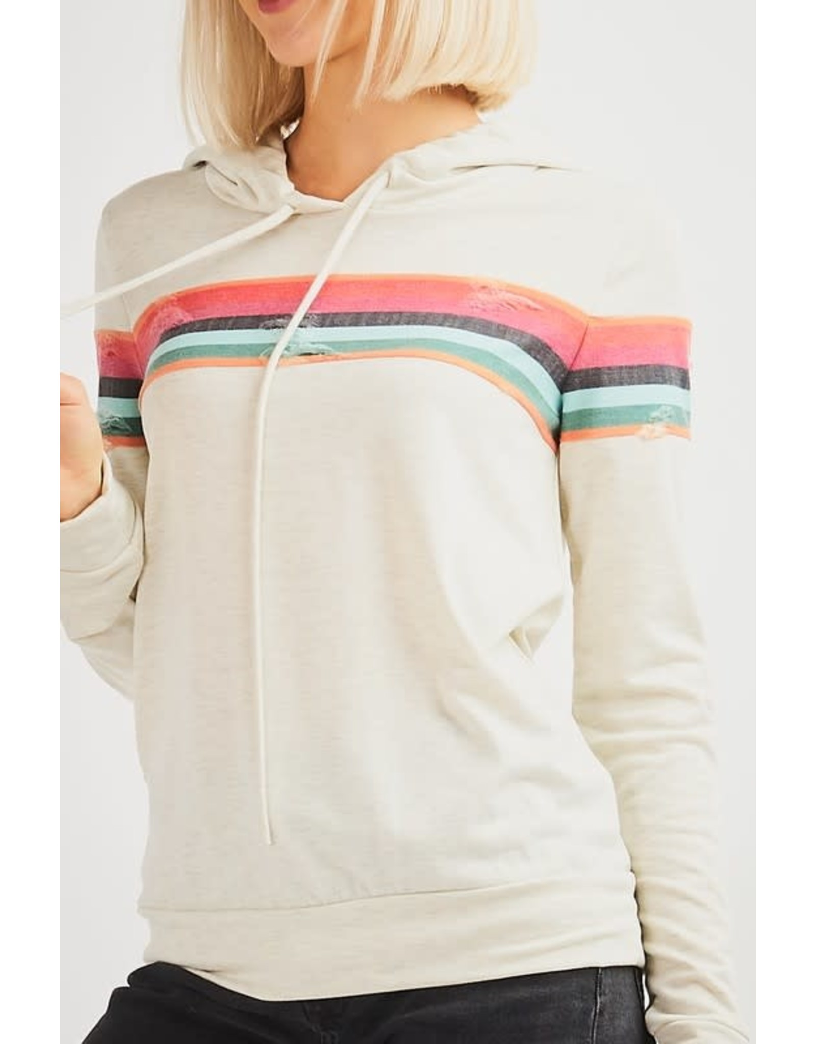 TLC DISTRESSED RAINBOW HOODIE