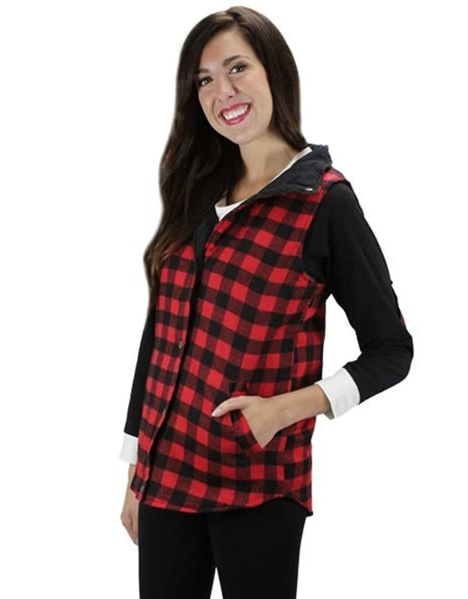 TLC 10085 BUFFALO PLAID REVERSIBLE VEST