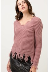 TLC FRAYED HEM PULLOVER VNECK SWEATER