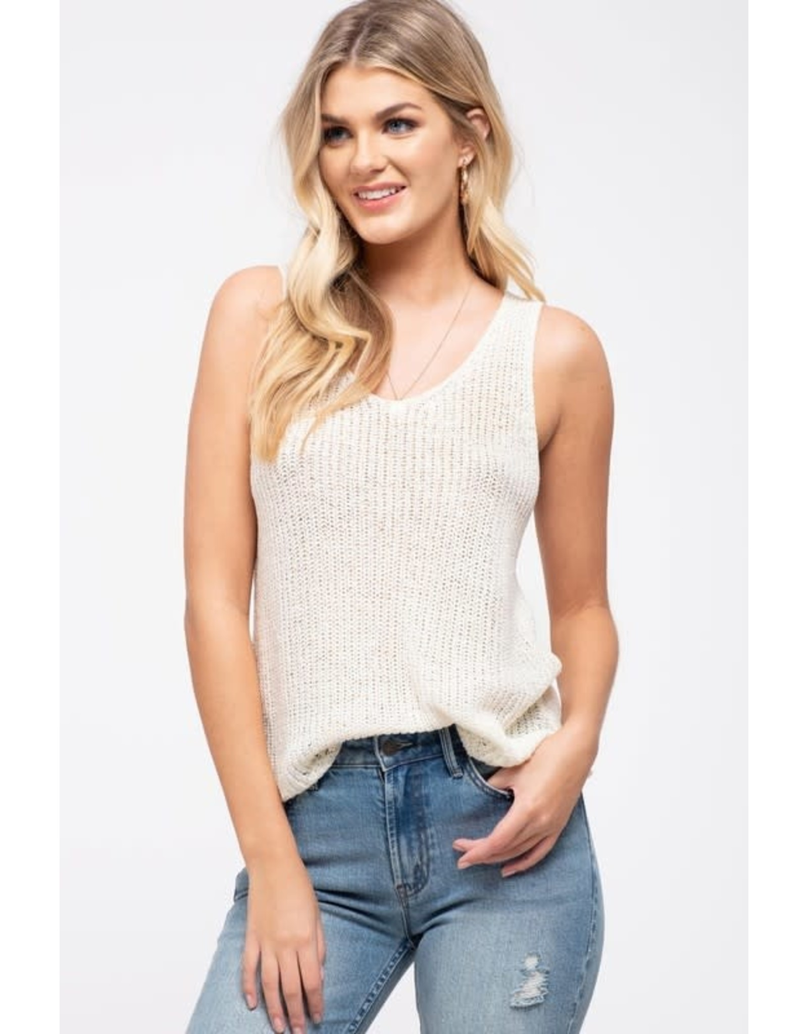 TLC SCALLOP HEM SLVLESS SWEATER