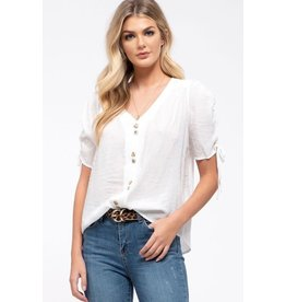 TLC PUFFED SLEEVE BUTTON TOP