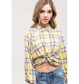 TLC TWIST FRONT PLAID SHIRT