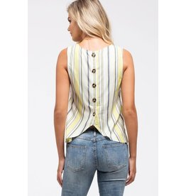TLC STRIPED BUTTON BACK TANK