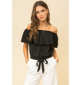 TLC OFFSHOULDER RUFFLE TOP