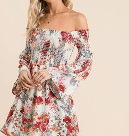 TLC FLORAL BELL SLEEVE DRESS