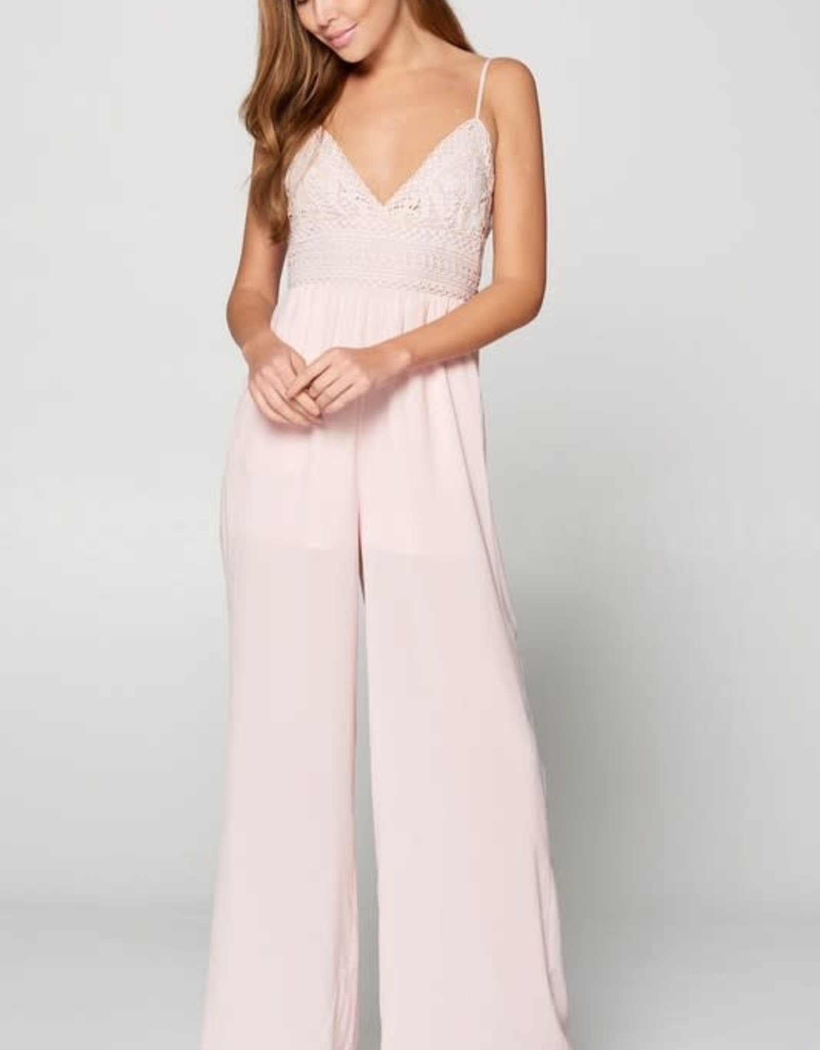 TLC CAMI JUMPSUIT CROCHET DETAIL TIE BACK