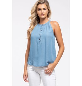 TLC HALTER CHAMBRAY TANK