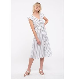 TLC FLUTTER SLEEVE MIDI DRESS