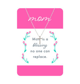TLC Silver Cross Mom Necklace Card