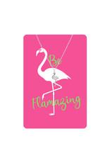 TLC Silver Flamingo Necklace Card